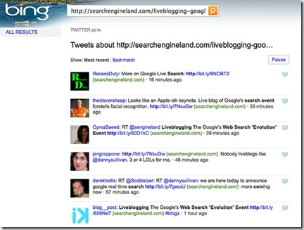 bing real time search