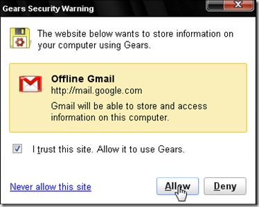 Google Gears will show a Security Warning