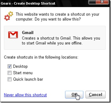Creating a desktop shortcut for Access Gmail
