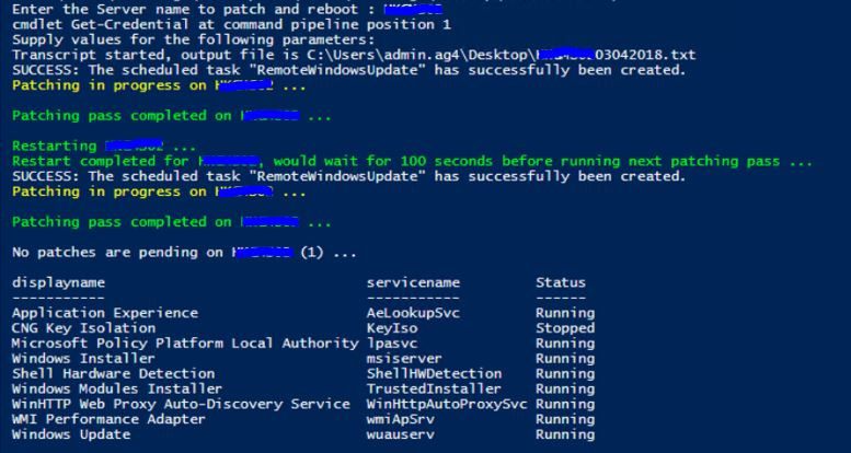 PowerShell Script for patching Domain Servers remotely